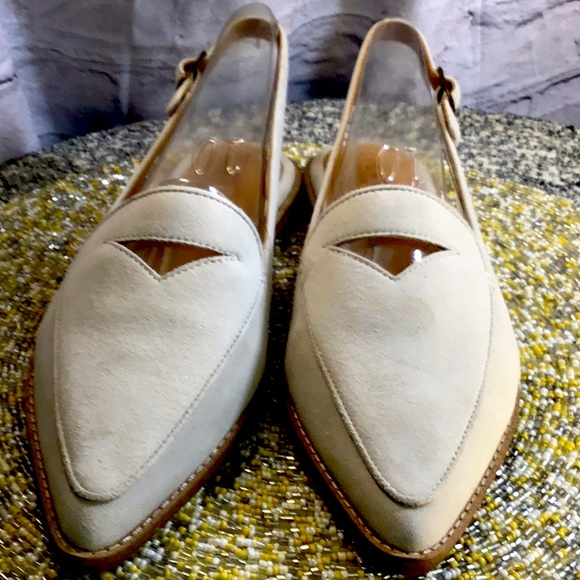 Sperry Cream Suede Sling backs size 10